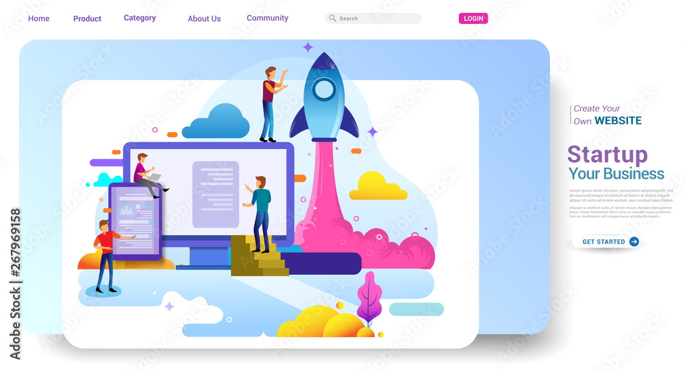Fototapety, obrazy: Landing page design concept of Startup Business, Successful startup business concept. Vector illustration concepts for website design ui/ux and mobile website development.
