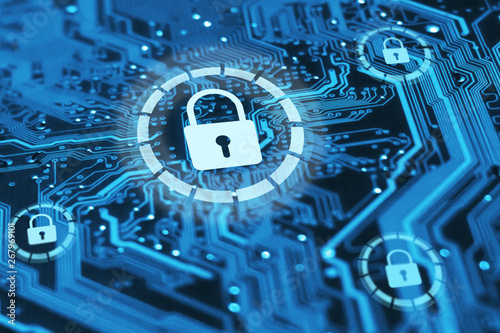 Fotografía  Cyber security and protection of private information and data concept