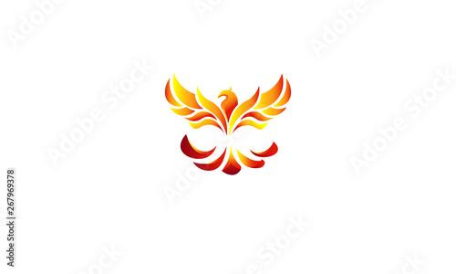 fire bird phoenix flying to the top Wallpaper Mural