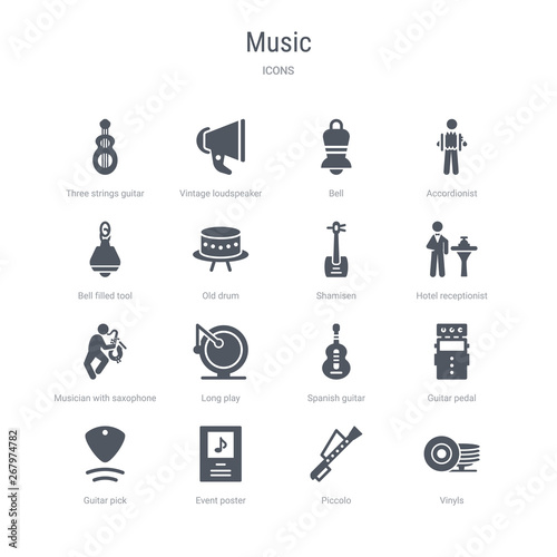 set of 16 vector icons such as vinyls, piccolo, event poster, guitar