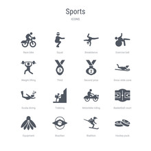 Set Of 16 Vector Icons Such As Hockey Puck, Biathlon, Brazilian, Equipment, Basketball Court, Motorbike Riding, Trekking, Scuba Diving From Sports Concept. Can Be Used For Web, Logo, Ui\u002fux