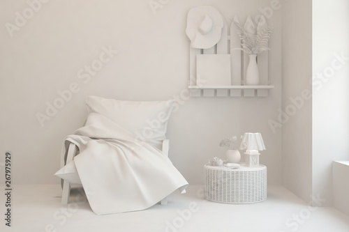 canvas print motiv - AntonSh : Mock up of stylish room in white color with armchair. Scandinavian interior design. 3D illustration