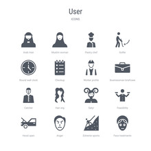 Set Of 16 Vector Icons Such As Face Treatments, Extreme Sports, Anger, Hood Open, Feasibility, Satyr, Hair Wig, Catcher From User Concept. Can Be Used For Web, Logo, Ui\u002fux