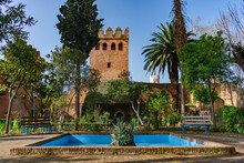 Garden With A Water Fountain Inside The Kasbah Of Chefchaouen Morocco