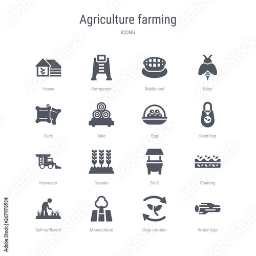 Photo  set of 16 vector icons such as wood logs, crop rotation, monoculture, self-sufficient, planting, stall, cereals, harvester from agriculture farming concept