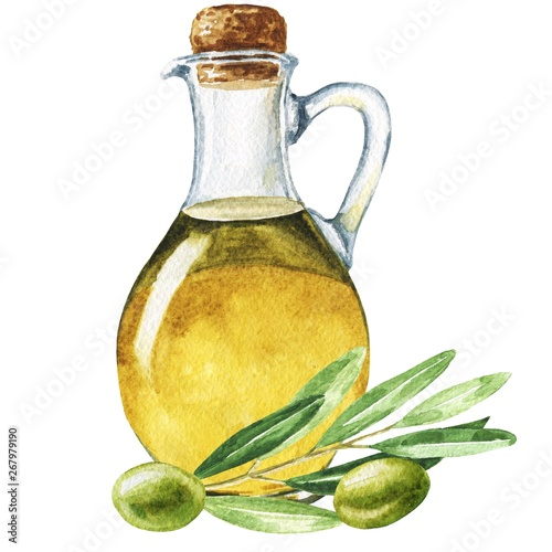 Fotografie, Tablou Hand drawn watercolor bottle of olive oil with leaves and brunch isolated on white background