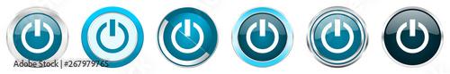 Power silver metallic chrome border icons in 6 options, set of web blue round bu Tapéta, Fotótapéta