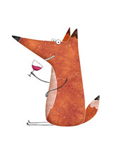 Cute Fox With Glass Of Wine