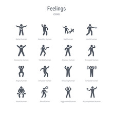 Set Of 16 Vector Icons Such As Accomplished Human, Aggravated Human, Alive Human, Alone Amazed Amazing Amused Angry From Feelings Concept. Can Be Used For Web, Logo, Ui\u002fux