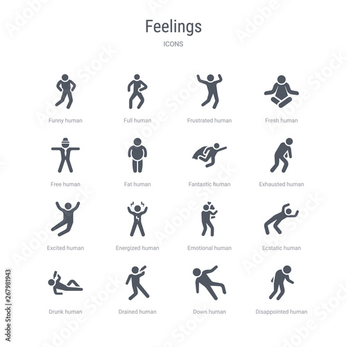 Fotografie, Obraz  set of 16 vector icons such as disappointed human, down human, drained human, drunk ecstatic emotional energized excited from feelings concept