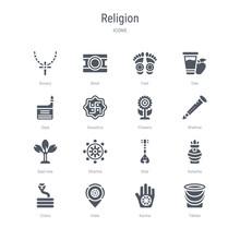 Set Of 16 Vector Icons Such As Tablas, Karma, India, Cobra, Kalasha, Sitar, Dharma, Bael Tree From Religion Concept. Can Be Used For Web, Logo, Ui\u002fux
