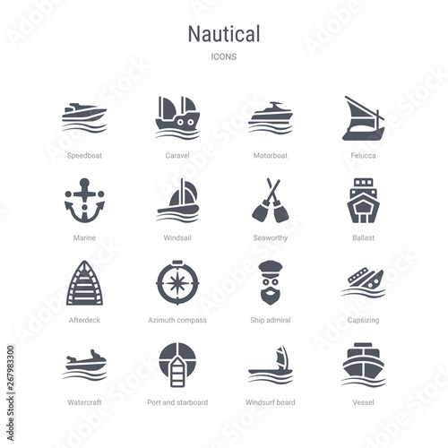 set of 16 vector icons such as vessel, windsurf board, port and starboard, watercraft, capsizing, ship admiral, azimuth compass, afterdeck from nautical concept Wallpaper Mural