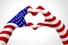 Flag Of USA, Shape A Heart. Co...