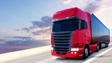 The Red Truck On The Road . Red Truck . Delivery Of Freight