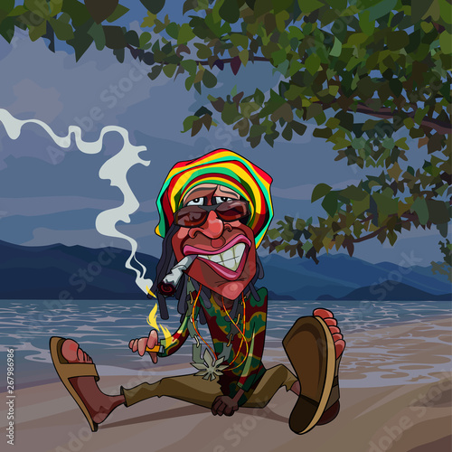 cartoon funny man rastaman sits by the sea and smokes Wallpaper Mural