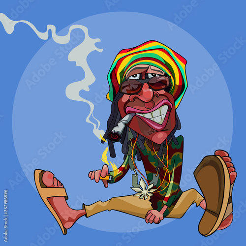 cartoon funny man rastaman sits on the floor and smokes Canvas Print