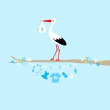 Storch Auf Baum Wäscheleine Baby Icons Junge