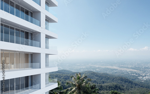 Perspective of high-rise condominium building with mountain and city view backgr Wallpaper Mural