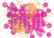 June Year 2019 Paint Monthly Calendar
