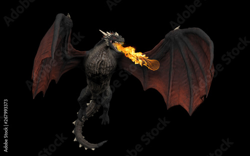 Dragon throwing fire ball while haning in air black background isolated 3d illus Fototapet