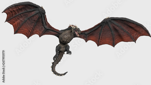 Obraz na plátne Dragon with fully opend wings hanging in air white background isolated 3d illust