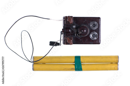 Fotografia  old detonator for dynamite isolated on white background
