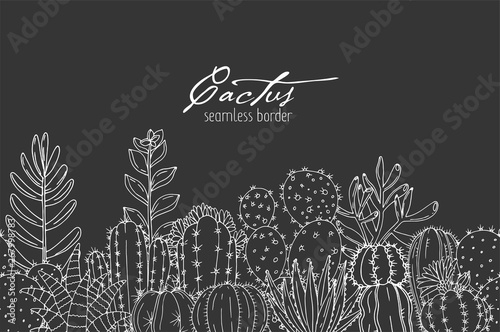 Fototapeta Poster with seamless ornament hand drawn lettering, cacti and succulents on a chalkboard background obraz