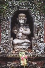 Small Decorative Statue At A Local Temple In Bali, Indonesia