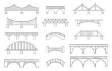 Set Of Different Bridges. Isolated On White Background. Black And White.  Line Art. Vector Illustration.