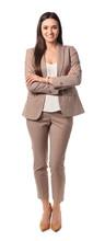 Full Length Portrait Of Businesswoman Posing On White Background