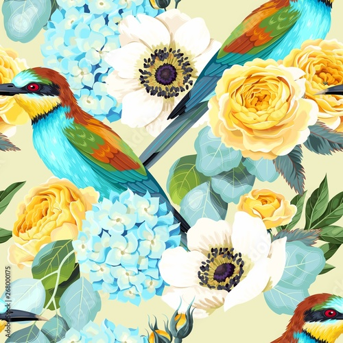 obraz lub plakat Vector seamless pattern with birds and roses
