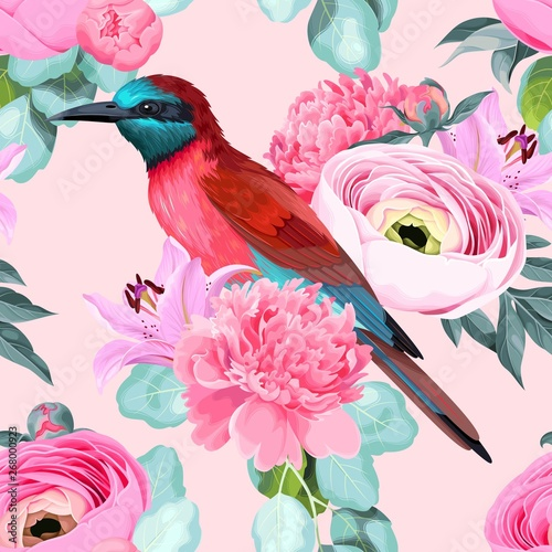 Fototapety, obrazy: Vector seamless pattern with birds and roses