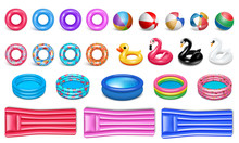 Equipment For The Pool. Realistic Style. Set Of Rubber Icons For Water Sports And Recreation. Circles, Birds, Pools, Rubber Bed. Isolated On A White Background. Vector.