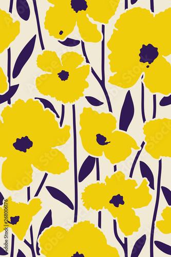 tropical flowers minimal pattern