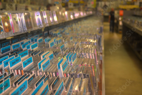 Photo Stands Music store Music Store Bins of Compact Discs