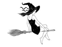 Beautiful Witch Girl Riding Br...