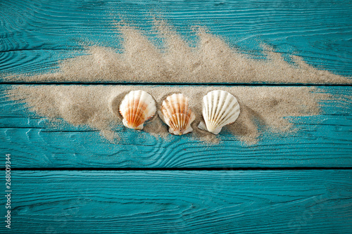 Fotografia Desk of free space and summer shell