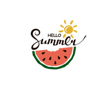 Emblem Of Hello Summer Lettering With Watermelon Isolated On White Background