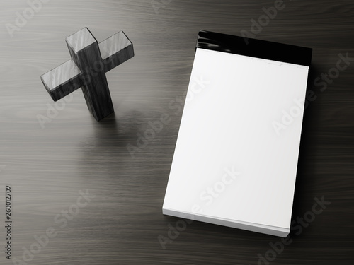 dark wooden cross symbol with space for text Fototapet