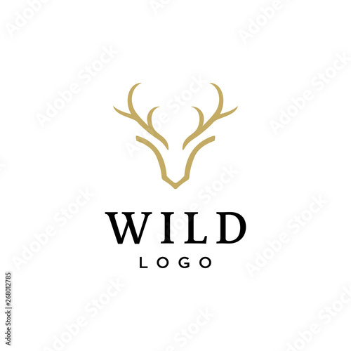 Canvas Print deer antler head vector logo design