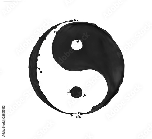 Fotografering  Splashes of black paint in the shape of a Yin Yang symbol, isolated on a white b