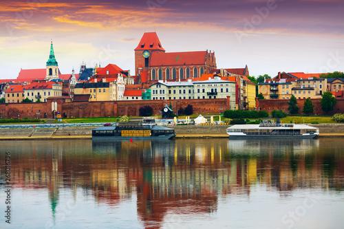Torun across Vistula at sunset Fototapeta