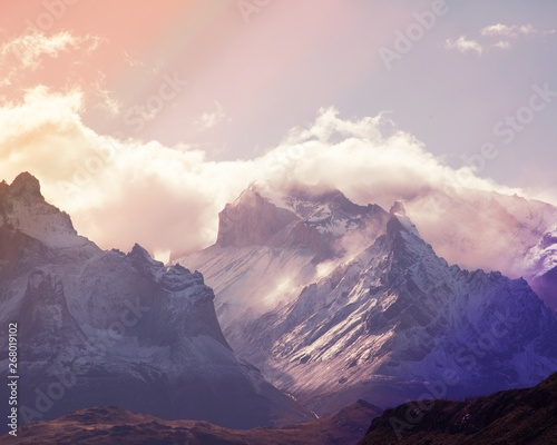 Mountain peaks of Torres del Paine in Patagonia National Park Chile with pink filter