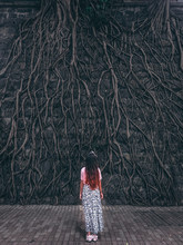 Girl Looking Towards Tree Roots