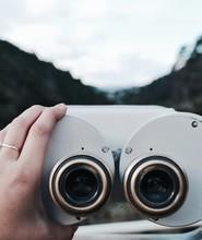 Gray Coin Operated Binoculars