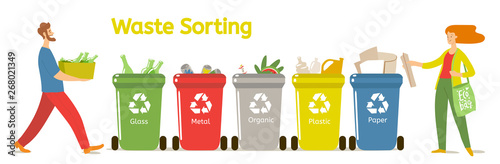 Fototapety, obrazy: Waste sorting vector illustration with two people