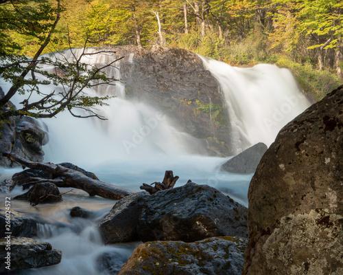 Twin cascading Waterfall near Mirador de Glaciares