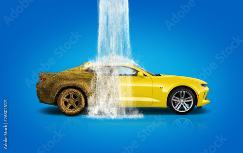 Fotomural  Car wash, car wash foam water, Dirty car wash in action - Image
