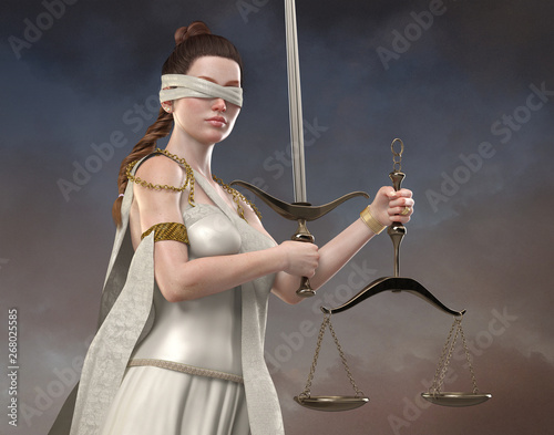 Photo Blind Justice -Realistic Beautiful Lady Justice Concept