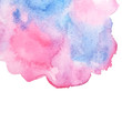 Abstract Painting Pink Blue Paint Spots White. Watercolor paint background with white. design of backdrop. Pink and blue watercolor on a white background.